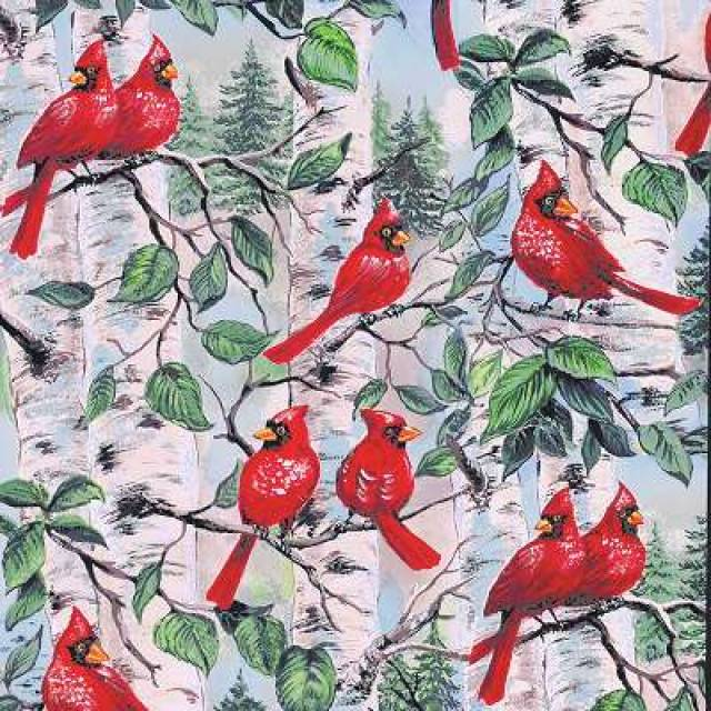 red cardinal birds fleece fabric