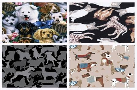 Dogs & Puppies Print Fleece Fabric