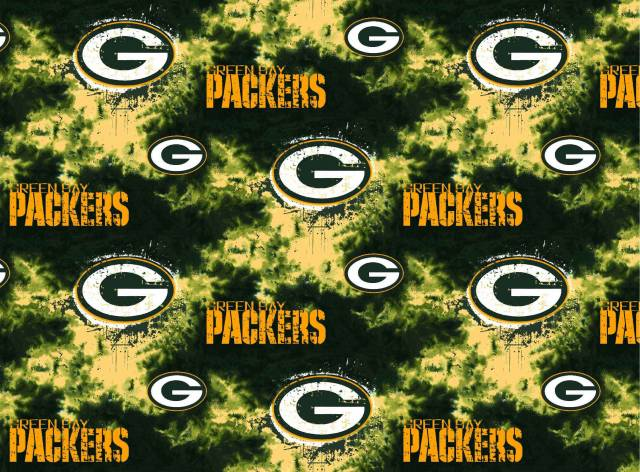 Green Bay Packers Tie Dye Fleece Fabric Nfl Football Team Fleece Fabric