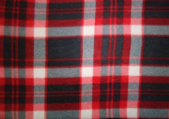 Charcoal & Red Plaid Fleece