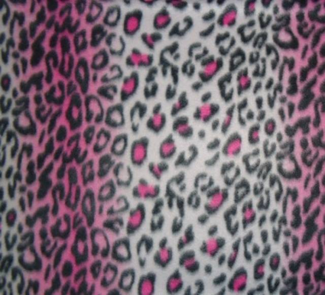 Stripe Pink Leopard Fleece Fabric