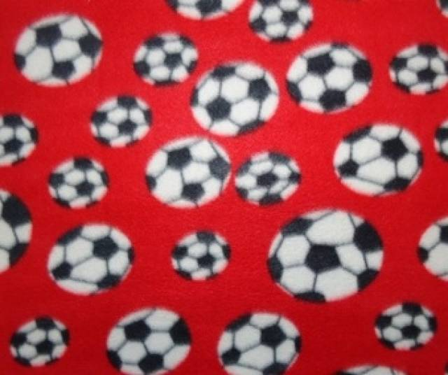 Red Soccer Balls Allover Fleece