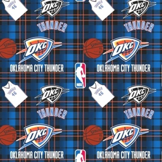Oklahoma City Thunder Plaids Fleece Fabric