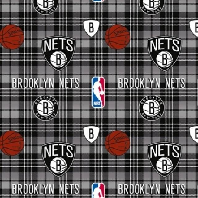 Brooklyn Nets Plaids Fleece Fabric
