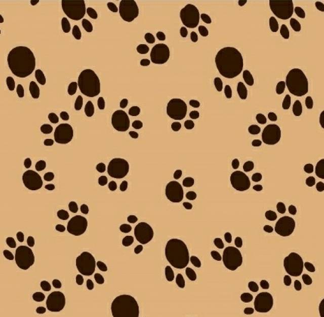 Dog Paws Camel Fleece Fabric