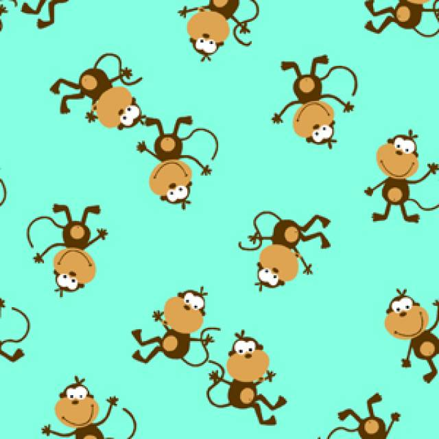 Posing Monkey Allover Fleece Fabric