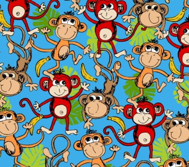 Packed Monkies Allover Fleece Fabric