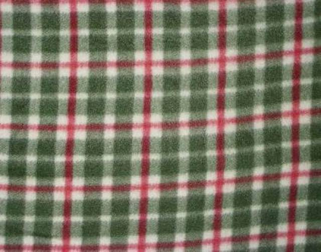 Olive & Red Checkers Fleece Fabric