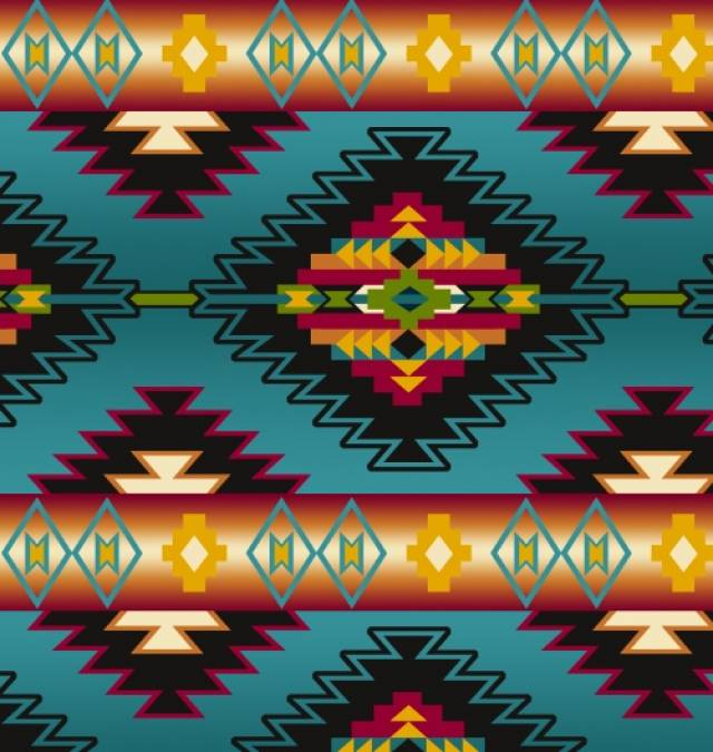 Native Stripe Turquoise Native American Fleece Fabric