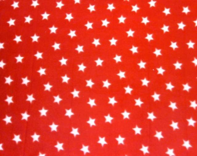 American Stars on Red Fleece Fabric