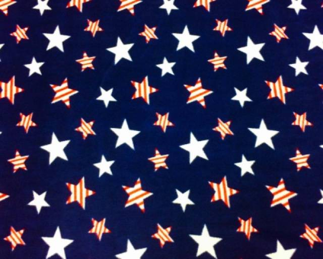 American Striped Stars On Navy Fleece Fabric