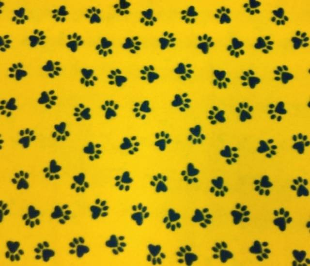 Gold Paws Prints Fleece