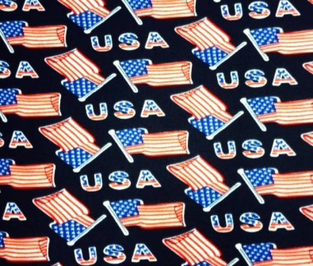 USA American Flags Fleece Fabric