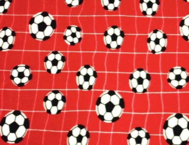 Red Soccer Balls Nets Fleece Fabric Fleece Fabric Print By The Yard