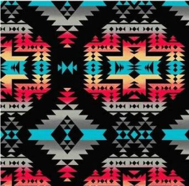Canyon Black Native American Fleece Fabric
