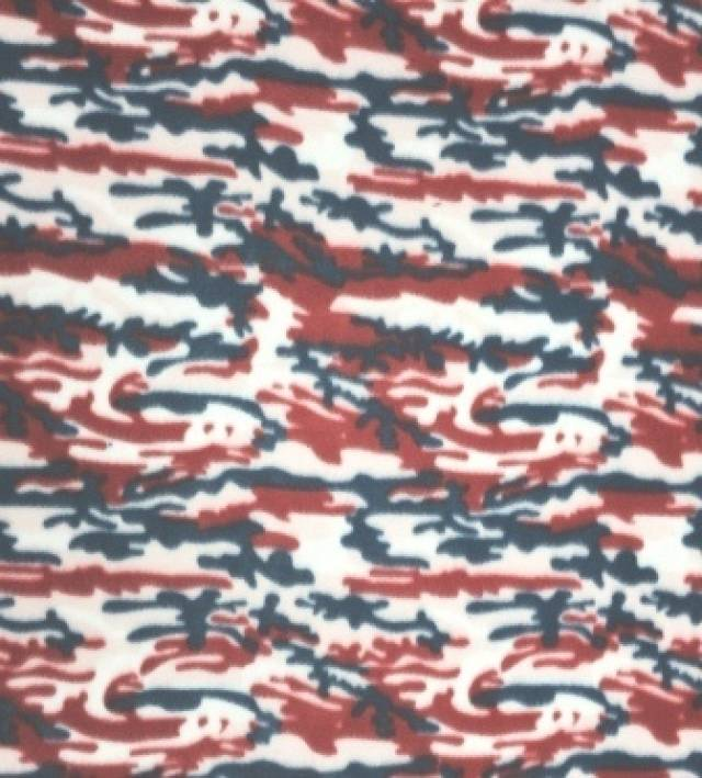 Royal & Red Camouflage Fleece Fabric