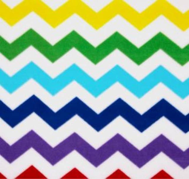 White & Multi-Color Chevron Fleece Fabric