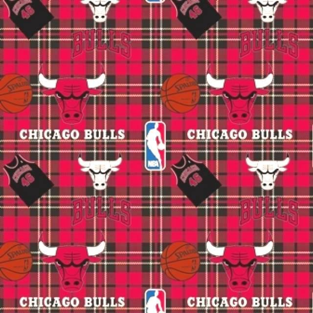 Chicago Bulls Plaids Fleece Fabric