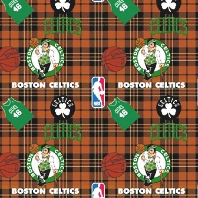 Boston Celtics Plaids Fleece Fabric Nba Basketball Team Fleece Fabric