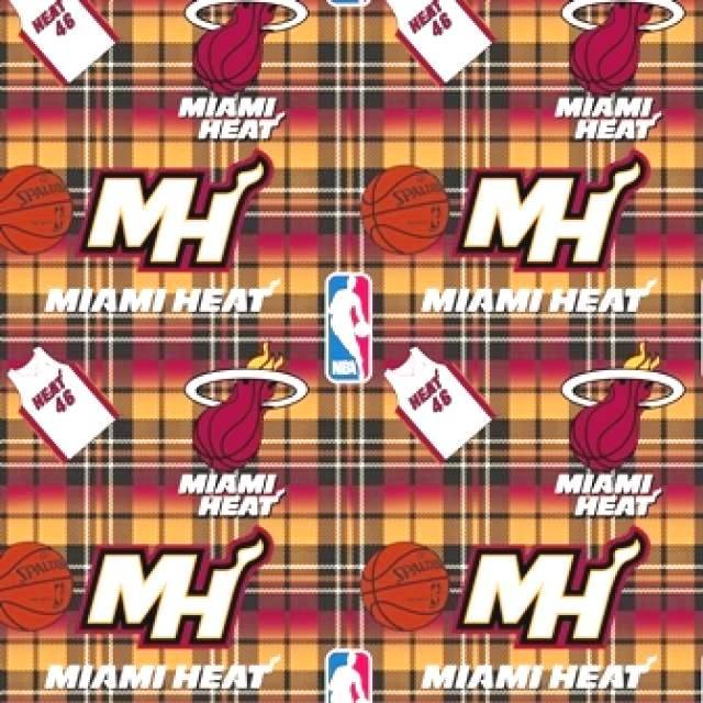 Miami Heat Plaids Fleece Fabric