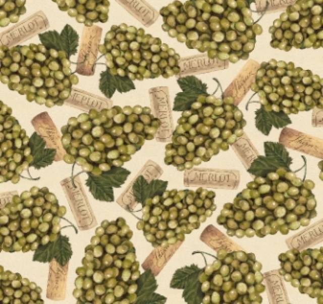 Merlot Wine Green Grapes Fleece Fabric