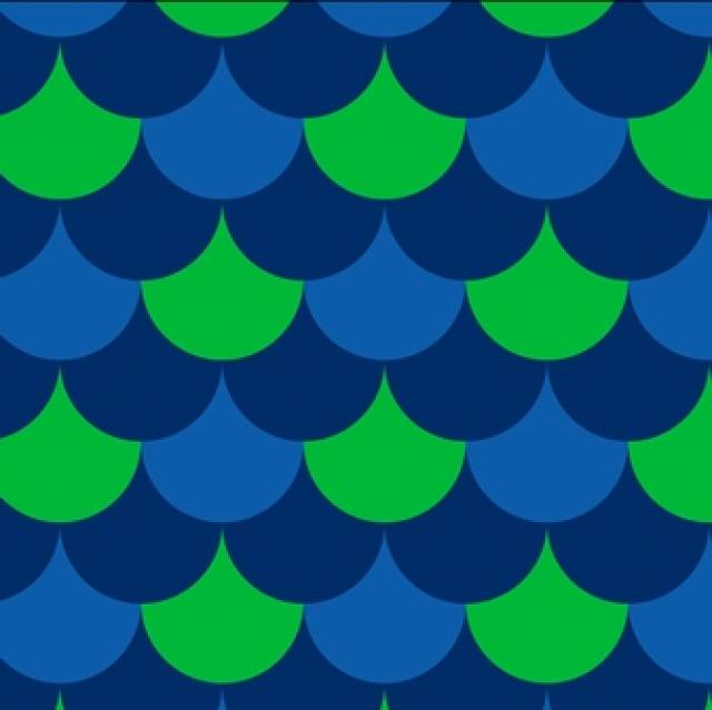 Waves Pop kelly & Navy  Fleece Fabric