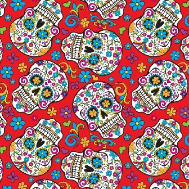 Folkloric Skulls Red Fleece