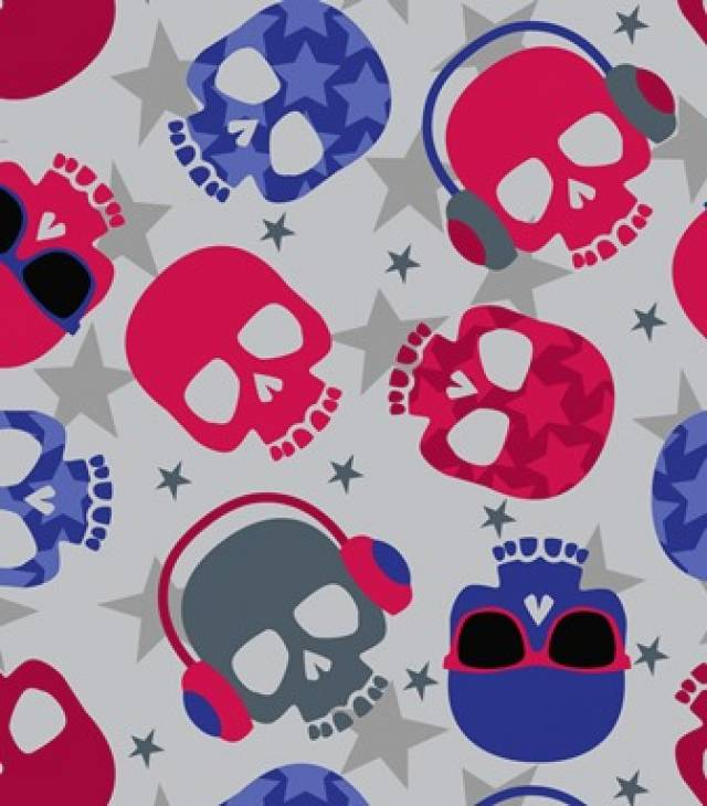 Rock Out Skulls Fleece Fabric