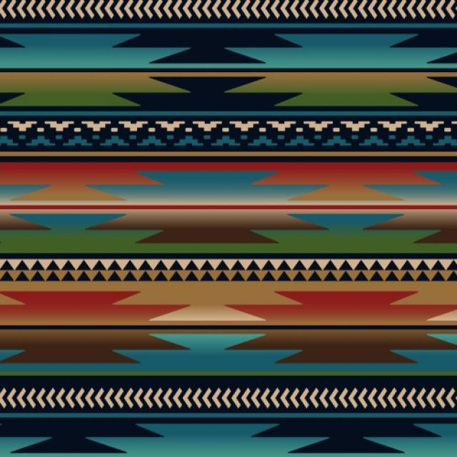 Sunset Stripes Blue Native American Fleece Fabric