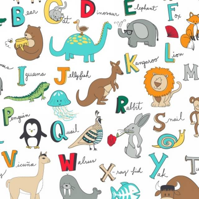 ABC Alphabet Animals Allover Fleece Fabric