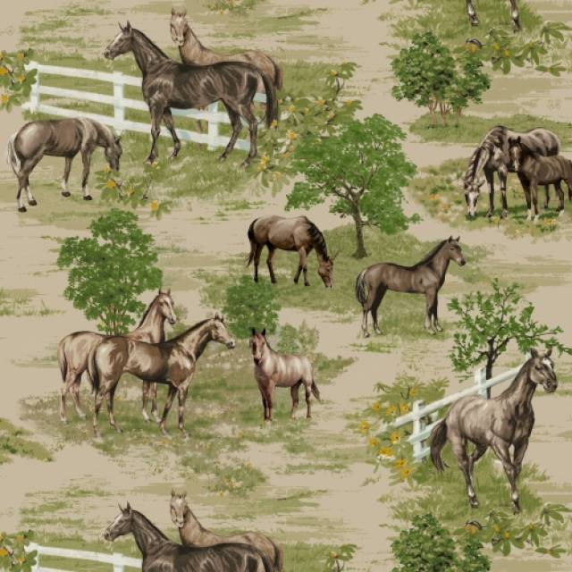 Horse Farms Allover Fleece Fabric
