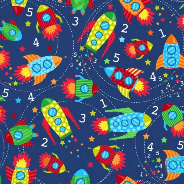 Blast Off Spaceships Fleece