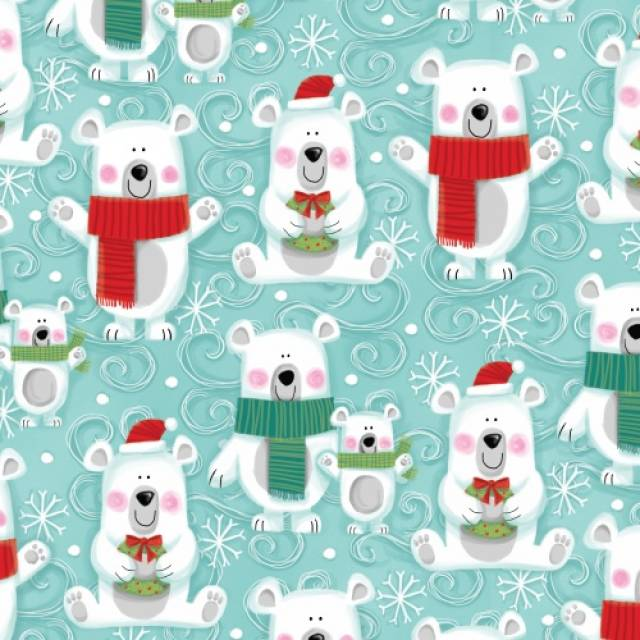 snow bears buddies fleece fabric