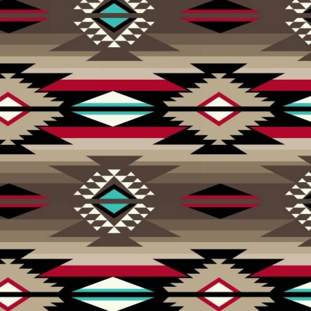 Raindance Taupe Native American Fleece Fabric