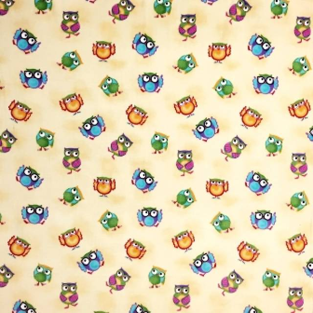 Playful Owls Allover Fleece Fabric
