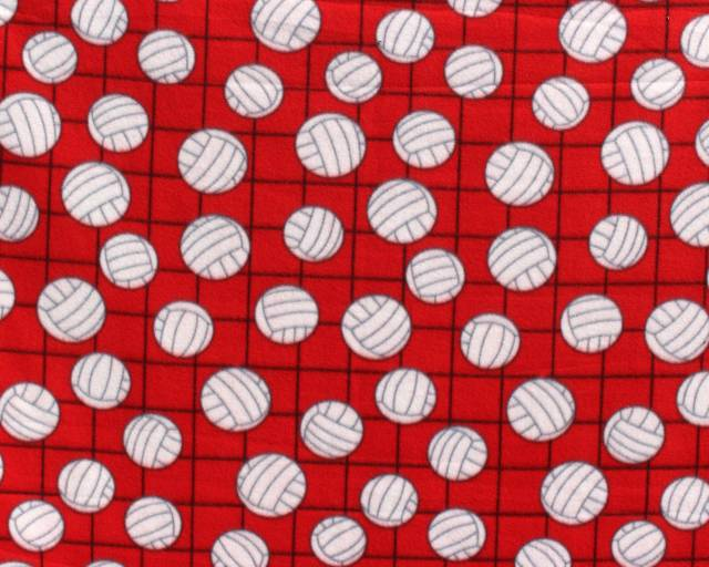 Volleyballs Red Fleece Fabric