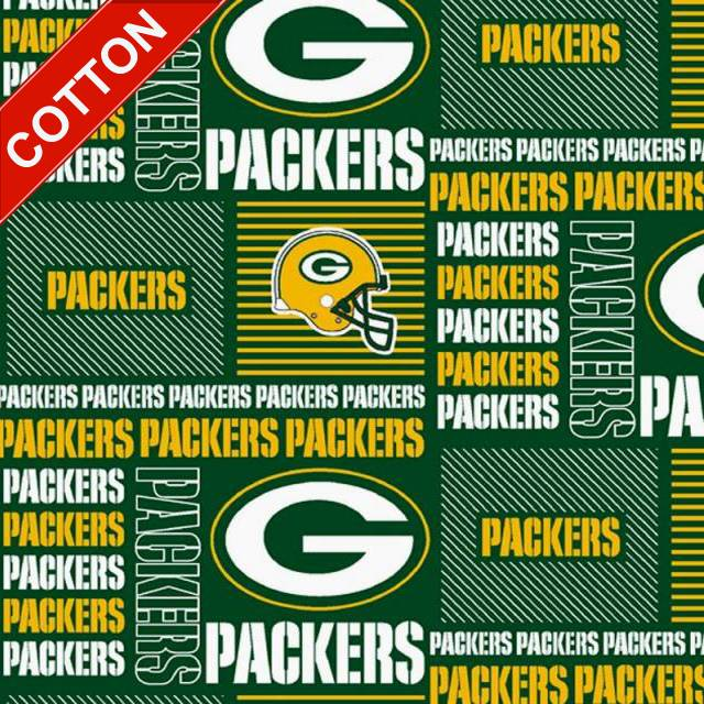 Green Bay Packers Blocks NFL Cotton Fabric