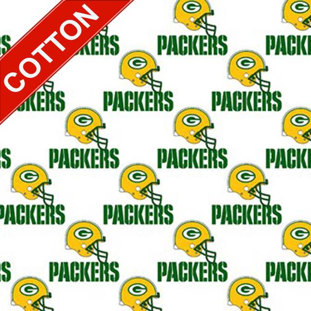 Green Bay Packers White NFL Cotton Fabric