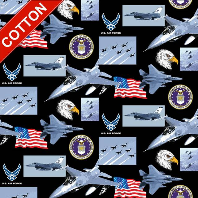 US Air Force Branches Cotton Fabric