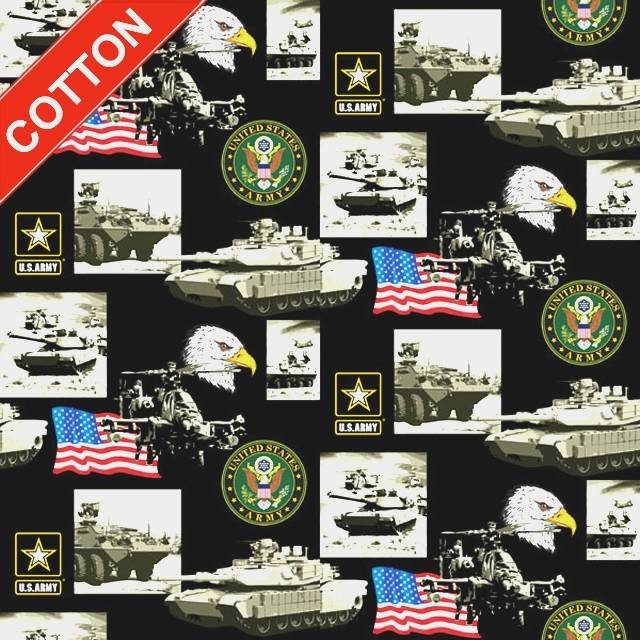 US Army Military Branches Cotton Fabric