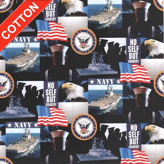 US Navy Military Branches Cotton Fabric