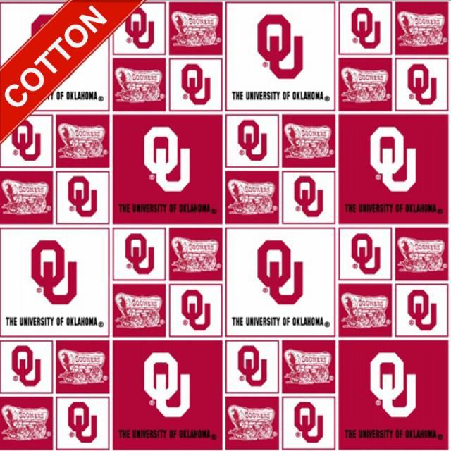 University Of Oklahoma Sooners Cotton Fabric College Cotton Fabric