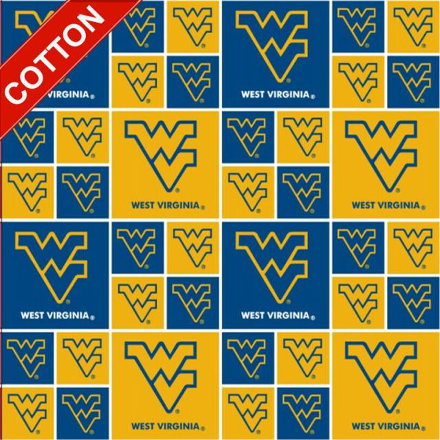 West Virginia University Mountaineers Cotton Fabric