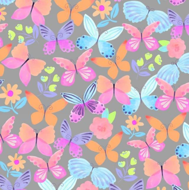 April Butterflies Grey Fleece Fabric