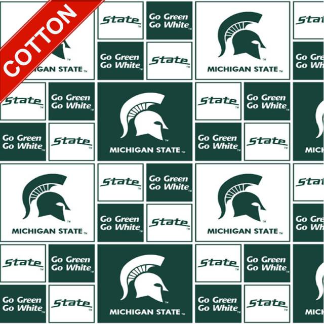 Michigan State University Spartans Cotton Fabric