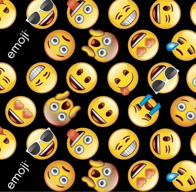 Classic emoji black fleece fabric for Emoji fabric