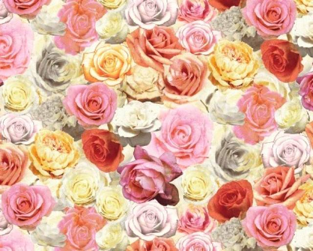 Roses Floral Allover Flower Fleece Fabric