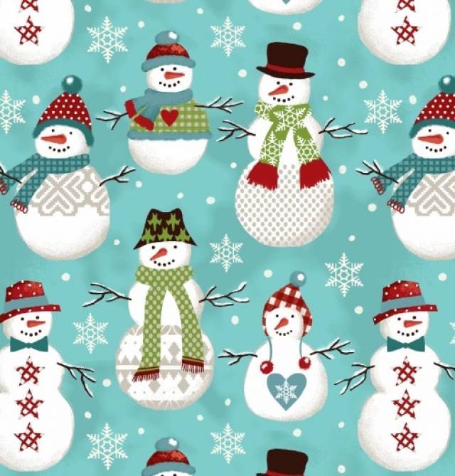 happy jolly snowman fleece fabric