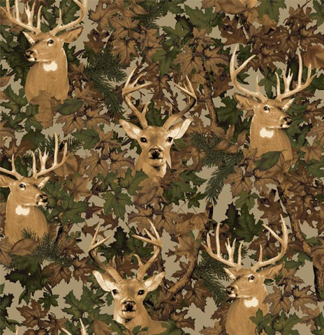 Deer Camouflage Allover Fleece Fabric
