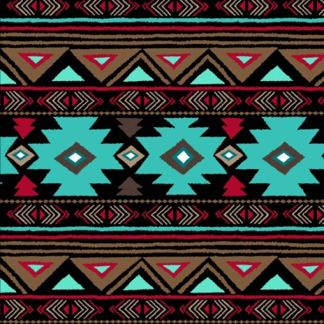 Native American Peace Stripe Turquoise Fleece Fabric